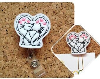 Felt Badge Reel, Kitty Love, Lanyard, Retractable Name Holder, Gift for Doctors, Nurses and School Teachers, Planner Clips, Magnets, 1127