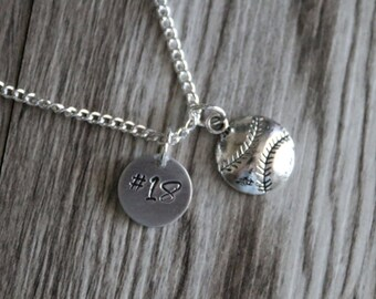 Baseball Necklace, Personalized Number Necklace, Softball Necklace, Sport Necklace, Girl Sport Necklace, Personalized Girl Softball Jewelry