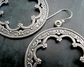 Silver Hoop earrings Moroccan earrings Boho silver Bohemian Jewelry