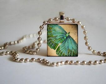 Aqua Butterfly - Scrabble Tile Pendant