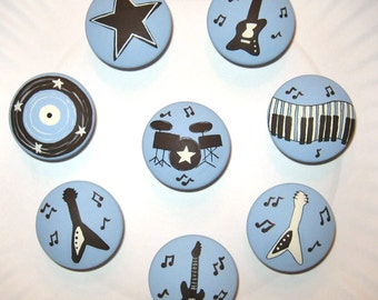 Set of 8 - ROCK N' ROLL Knobs - Guitars, Drums, Key Board, Music Notes - Hand Painted Wooden Knobs