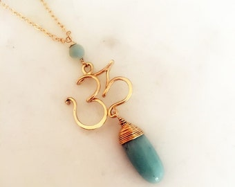 """14K Gold Filled or Sterling Silver hand Made Sanskrit """"OM"""" Pendant with Amazonite Nugget/14k gold filled chain/ Yoga Jewelry/Yoga accessory"""