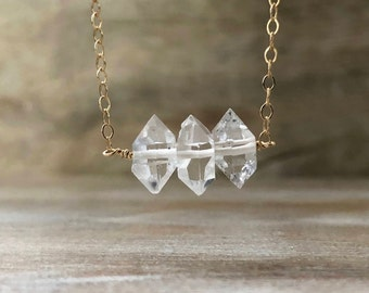 Triple Herkimer Diamond Bar Necklace, April Birthstone, Herkimer Diamond Necklace, Gift for Girlfriend, Valentines Gift Wife Gift for Mother