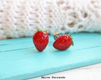 Strawberry Studs, Stud Earrings, Polymer Clay Fruit Jewelry, Food Accessories