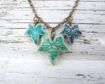 Ivy leaf necklace, green glazed ceramic, emerald, Winter collection