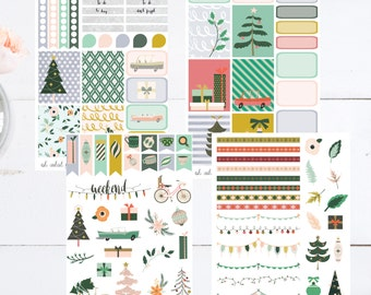 Oh What Fun Weekly Monthly Planner Sticker Kit Erin Condren Inkwell Press Happy Planner Plum Paper Set weekly kit Retro Winter Christmas