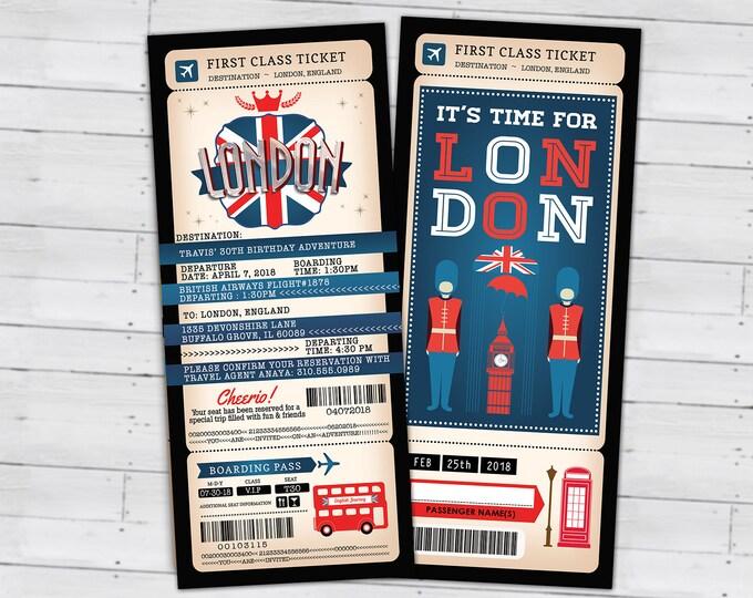 London, passport and ticket, birthday invitation, travel birthday party invitation, Union Jack, England, British, Digital files only