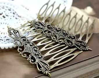 5Pcs Wholesale Antique Brass Filigree hair comb Setting NICKEL FREE(COMBSS -1)