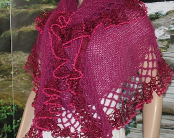 Fuchsia Wedding Shawl, Bridal Shawl, Bridal Wedding Stole,Red Mohair Triangle Shawl, Hand Knit Shawl, Wedding capelet, Bridesmaid Shawl