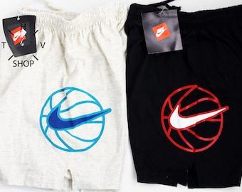 NOS Vintage Nike Basketball junior kids shorts / Standard Junior pants / Unisex trunks / Black Grey Jordan deadstock / Made in Greece 90s