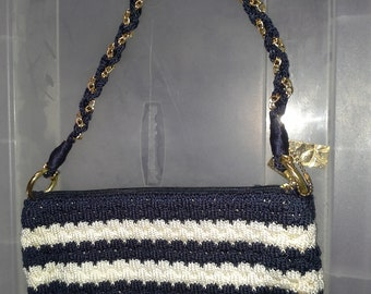 Navy blue and white woven purse