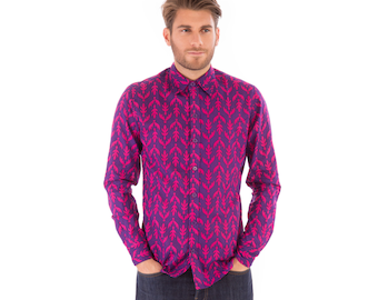 Mens 100% Cotton Long Sleeve Slim Fit Shirt Purple Print
