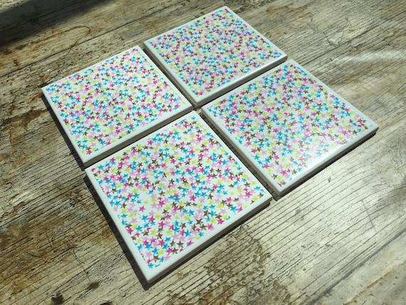 Set Of Four Star Design Ceramic Coasters - Ceramic tile star designs
