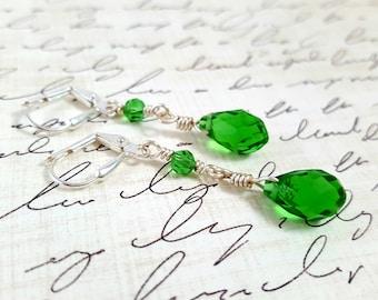 Green Crystal Earrings - Glass Crystal Earrings - Long Green Dangle Earrings - Beaded Earrings - Emerald Green - Lever Back -  Teardrop