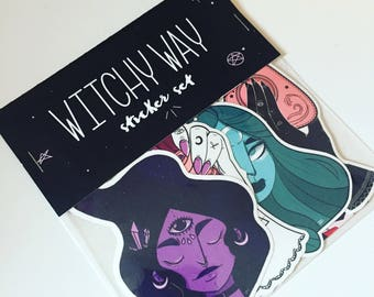 Witchy Way, stickers, vinyl stickers, laptop stickers, whimsical, witchy, magical, ouija