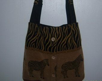 Zebra Tapestry Handbag