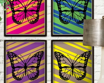 Set Of Four Multicolor Butterfly Prints, Butterfly Print, Butterfly Printable, Butterfly Art, Butterfly Wall Art, Butterfly Decor, Butterfly