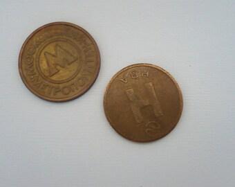 Subway token, Novosibirsk and Moscow/ Жетоны метро, Новосибирск и Москва