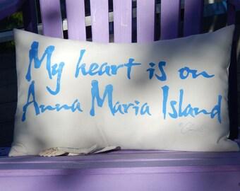 "Outdoor pillow My Heart is on ANNA MARIA ISLAND 12""x20""  indoor outdoor seashell beach seashore vacation home  Crabby Chris™"