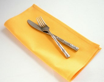 Organic Cotton Napkins, Eco Friendly Cloth Napkins, Reusable - Sunshine Yellow, Set of Four