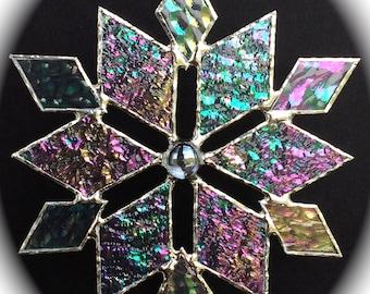 stained glass snowflake suncatcher (design 3)