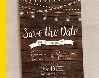 Rustic Save the Date Template, Save the date printable