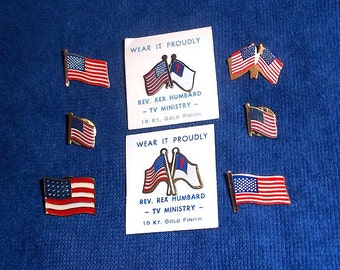 8 Vintage Flag Pins and Tie Tacks - Patriotic - Wear it Proudly