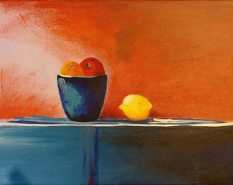 Blue Pot and Fruit