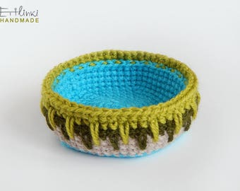 Small Basket Crochet Housewarming Gift For Home Modern Decor Storage Basket Keys Tray Boho Jewelry Organizer Inspired by Bulgarian pottery