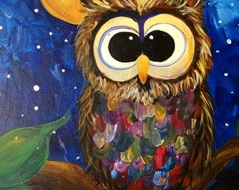 "Whoooo Loves Owls 16x20"" Handpainted Canvas"