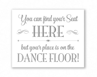 Grey Printable Find Your Seat Here, Wedding Sign, Seating Assignment, #FD11A