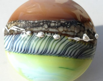 Spumoni Zebra-handmade lampwork glass large lentil focal in dusty mauve rose and yellow mint green with silvered ivory and striped cane