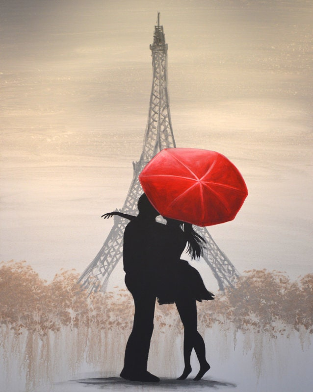Eiffel Tower Red Umbrella Art Print 8 X 10 Glossy Giclee