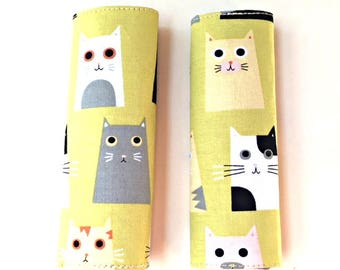 Cat luggage handle cover, 2 luggage handle wraps, bag handle cover, luggage tag, suitcase tag, cat bag tag, handle wrap, travel gifts kids