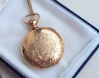 Antique Pocket Watch and Chain - 12kt Gold Filled, Gilt, Hunter, Gold Filled, Rose Gold, Hampden, Stark, Rolled Gold,Non Working
