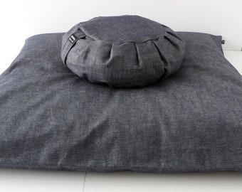 Meditation Cushion Set - Thick Denim Zabuton & Buckwheat Zafu