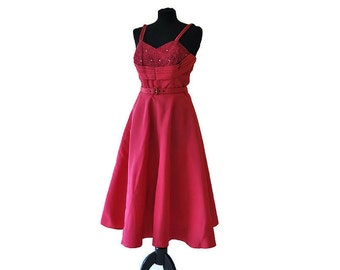 1950s Hot Pink Dress // Vintage Pink Evening Dress with Rhinestone Detailing // Swing Dress // Full Skirted //