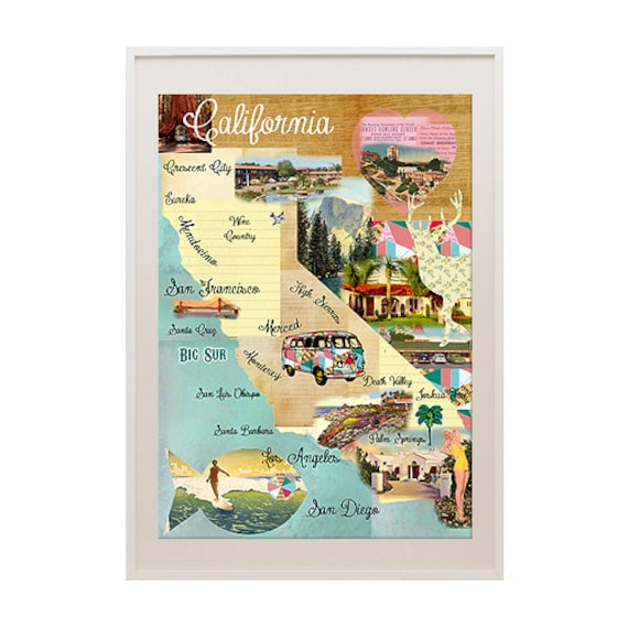Vintage California Map Collage poster print on wooden