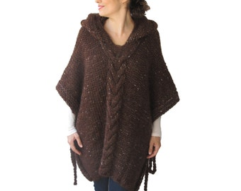 Tweed Brown Plus Size Cable Knit Poncho with Hoodie  by Afra