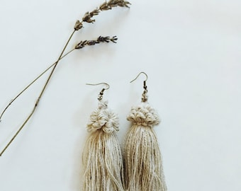 Crown Tassel Earrings- Oatmeal