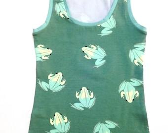 Cotton Tank Top, Organic Underwear, Frog Cotton Top, Organic Cotton Tank, Frog Print Tank, Printed Undershirt, Camisole, Organic Yoga Wear