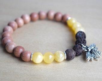 Jade Yoga Bracelet / bee jewelry gift, lava stones, nature lover gift, queen bee charm bracelet, prosperity abundance bracelet, group 6