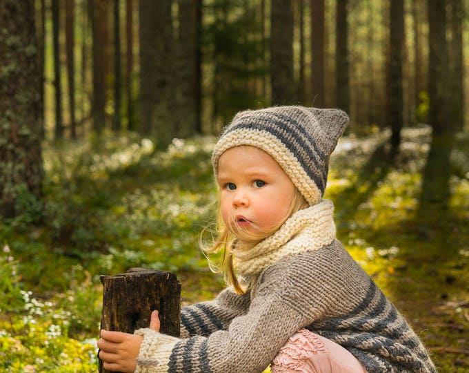 KNITTING PATTERN cat sweater hat leg warmers set Smokey with pockets and collar (toddler and kids sizes)