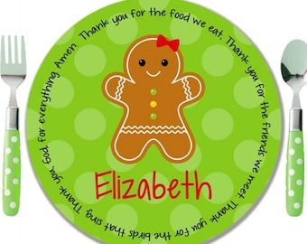 Personalized Melamine Plate - Personalized Kids Plate - Personalized Christmas Plate - Kids Holiday Plate - Gingerbread Girl / Boy / House  sc 1 st  Etsy & Personalized Christmas Plate Kids Melamine Plate Child
