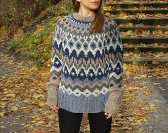 fair isle sweater, icelandic sweater, nordic sweater, knit swoncho, knit sweater, riddari, knit pullover, tweed blend sweater, ready to ship