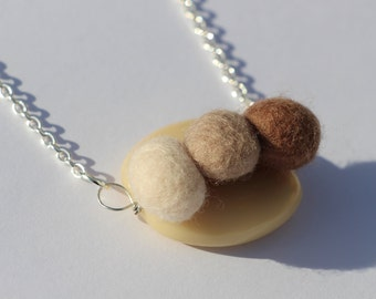 Cafe Latte Organic Shaped Resin and Felt Pebble Necklace