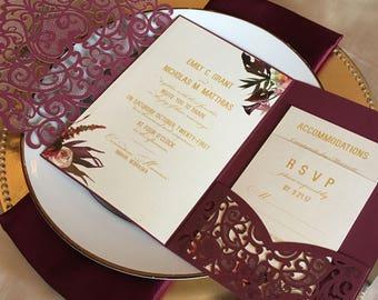 Laser Cut Pocket Wedding Invitation Kit - Burgundy Wedding Invitation Vintage - Fall Floral Lasercut Suite