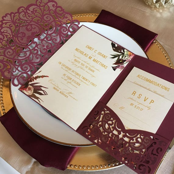 Wonderful Laser Cut Pocket Wedding Invitation Kit Burgundy Wedding