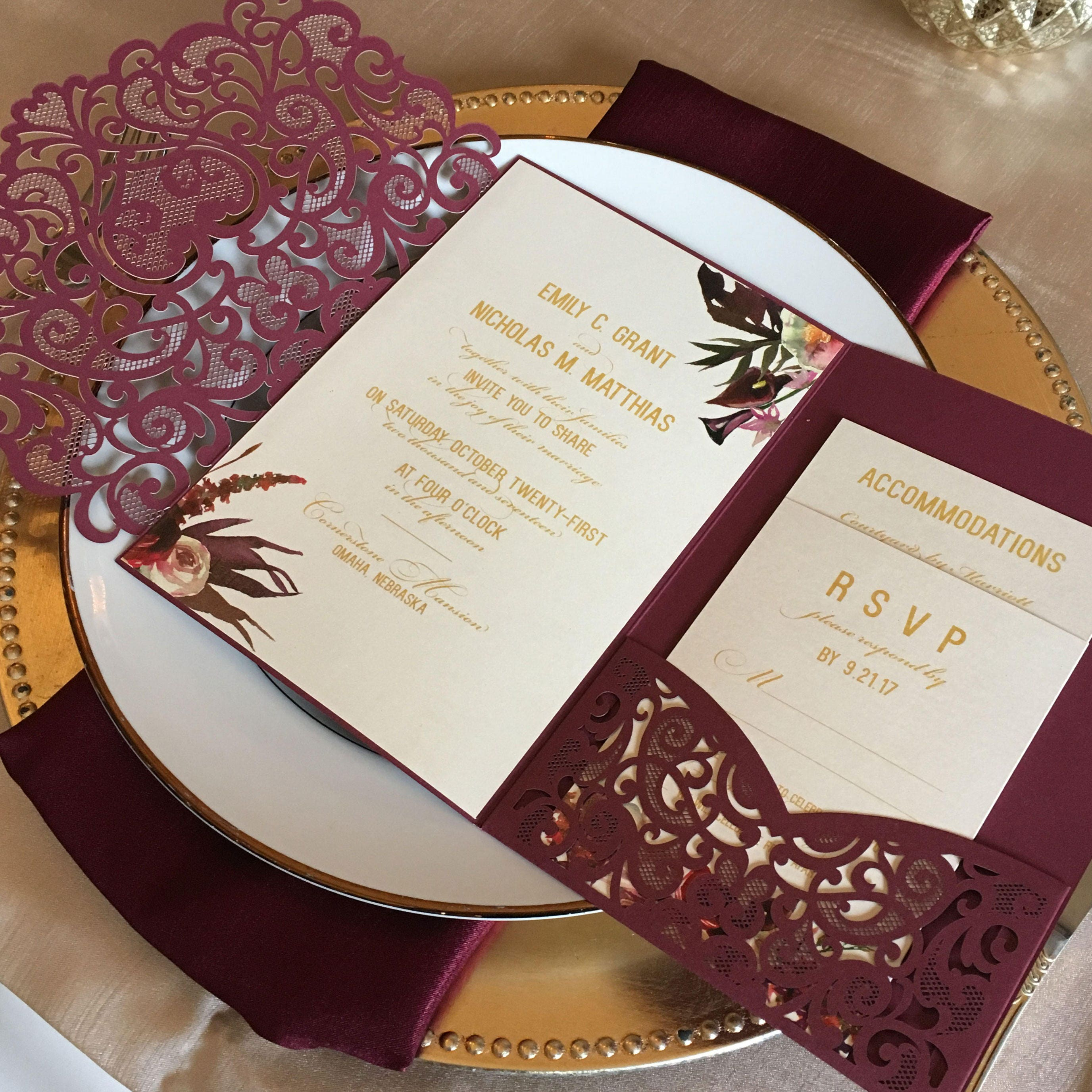 Laser cut pocket wedding invitation kit burgundy wedding zoom monicamarmolfo Image collections