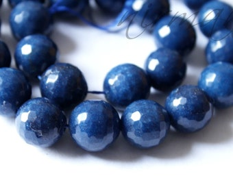 "14mm Faceted Agate Bead / Cobalt Blue Bead / 14"" Strand"